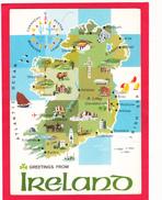 Modern Map,Karte,Carte,Carta Geografica Postcard Of Ireland,L39. - Other