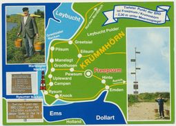 AK  Orientierungskarte Tiefster Punkt Der BRD Krummhörn Freepsum - Cartes Géographiques