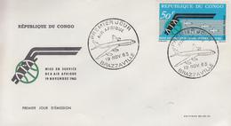 Enveloppe  FDC   1er   Jour     CONGO      Mise En Service   DC 8   De  La   Compagnie   AIR  AFRIQUE   1963 - FDC