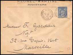 4743 Lettre Cover Bouches Du Rhone Roquevaire N°90 Sage Pour Marseille 1885 - 1877-1920: Période Semi Moderne