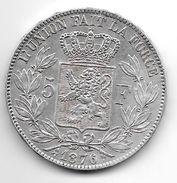 *belguim 5 Francs  Leopold II  1876 Vf+ - 1865-1909: Leopold II
