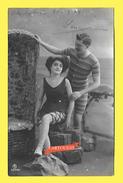 CPA BLANKENGERGE Couple De Baigneurs 1909 Belle Oblitération ( Photo Décor ) - Blankenberge