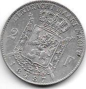 *belguim 2 Francs  Leopold II  1887  Fr+ - 1865-1909: Leopold II