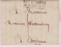 FP197 /FRANKREICH -  Cognac 1811 Nach  Bordeaux Mit 2-Zeiler Petite-Poste Bordeaux Auf Kompl. Brief - Poststempel (Briefe)