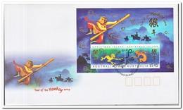 Christmaseiland 2004, FDC, Year Of The Monkey - Christmaseiland