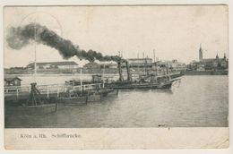 Alte AK  Köln Am Rhein Schiffbrücke Mit Dampfer 1906 - Koeln