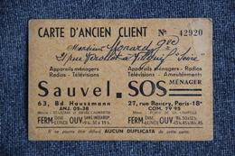 Carte D'Ancien Client - SOS SAUVEL, Ménager à PARIS - Cartes De Visite