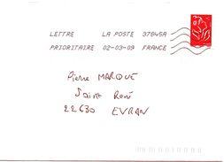 Enveloppe Oblitération LA POSTE 37845A 02/03/2009 - Sellado Mecánica (Otros)