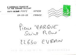 Enveloppe Oblitération LA POSTE 18769A 09/03/2009 - Sellado Mecánica (Otros)