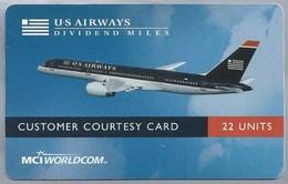 US.- MCI WORLDCOM. U-S AIRWAYS. DIVIDEND MILES. COSTUMER COURTESY CARD. FROM USA. Vliegtuig. 2 Scans - Vliegtuigen