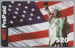 US.- MCI Prepaid. $20. From USA And Canada. Vlag. Vrijheidsbeeld. 2 Scans. - Telefoonkaarten