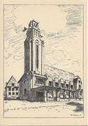 """Bruxelles (1190): Esquisse De F. Smeers (1933) Pour La Future Maison Communale """"Art Déco"""" De Forest, Avec Sceau Communal - Cartes Postales"""
