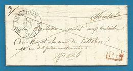 (W3-30) France - LAC De ENSISHEIM (càd Type 12 Noir) Vers Paris Du 4/12/1835 - P.P. Encadré En Rouge - Marcophilie (Lettres)