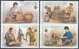 Thailand Siam 2003 Kultur Kunst Kunsthandwerk Korbflechten Töpferei Marionetten Holzschnitzen, Mi. 2201-4 ** - Thailand