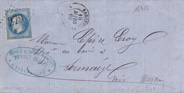 18413# LAURE LETTRE Obl BADONVILLER 1869 T15 MEURTHE Pour SERMAIZE MARNE - 305 BUREAU DE PASSE BAR LE DUC MEUSE - Marcophilie (Lettres)