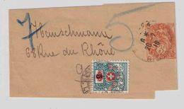 1918 Bande Journal 3 C Type Blanc Paris Pour Genève Suisse Taxée Timbre Taxe Provisoire Surchargé 5 Sur 3 - Ganzsachen