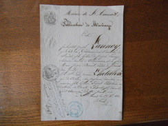 SAINT AMAND MAIRIE COURRIER DU 29 Xbre 1850 LE MAIRE A.NICOLLE PUBLICATION DE MARIAGE J .B. LANNOY EMILIE LHOTELLERIE - Manuskripte