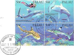 SHARKS OF PALAU - TIBURONES DE LAS ISLAS PALAU TIBURON JAWS FDC AÑO 1995 - Palau