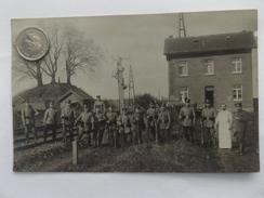 Soldaten, Deutsche, Bahnlinie, Altes Formsignal, Eisenbahn, Haus, 1915 - Guerra 1914-18