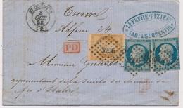Lettre N°13,14x2 CaD ST Quentin Aisne Pour Turin 1858 - Marcophilie (Lettres)