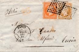 """Lettre N°13,16 CaD Paris """"J"""" Pour Turin 1860 - 1849-1876: Période Classique"""