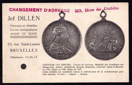 Vieille Cpa PUBLICITAIRE - VENDEUR DE MONNAIES ET MEDAILLES JEF DILLEN BRUXELLES - Très Rare !! - Monnaies (représentations)