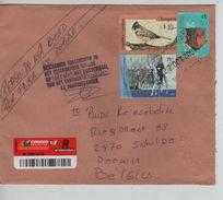 Argentina Registered Cover Buenos Aires 2004 To Belgium Damaged Bird & Soldier AP1254 - Argentine