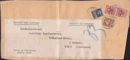 SCHWEIZ  Völkerbund SDN 10, 19, 2x 23 MiF Auf Auslands-Briefstück  Mit Stempel: Genf 5.I.1927 - Dienstpost