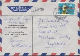SCHWEIZ Europ. Büro Der Vereinten Nationen, 640 CH Auf Luftpost-Brief Mit Stempel: Genf Nations Unies 21.III.1957 - Poststempel