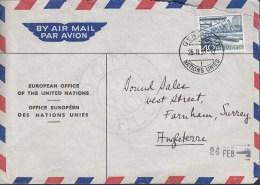 SCHWEIZ Europ. Büro Der Vereinten Nationen, 537 CH Auf Luftpost-Brief Mit Stempel: Genf Nations Unies 25.II.1957 - Poststempel