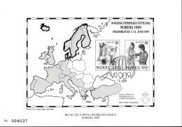 NORWEGEN 1019-1020, Schwarzdruck Auf Sonderkarte Zur NORDIA '89, Beilage Zum Ausstellungskatalog - Europa-CEPT