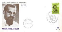 Netherlands Antilles 1972 Curacao Flag M.F. Da Costa Gomez (1907-1966) Politician FDC Cover - Briefe