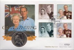 Great Britain Coin Cover With 5 Pounds Coin, Golden Wedding - Other