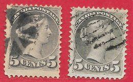 Canada N°31 5c Gris-brun & N°31a 5c Gris-vert 1870-93 O - 1851-1902 Règne De Victoria