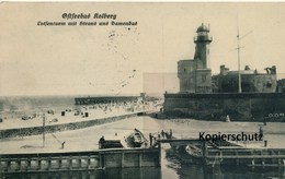 AK Kolberg, Lotsenturm M. Strand U. Damenbad - Pommern