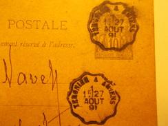 Marcophilie  Cachet Lettre Obliteration - Timbre -  Convoyeur Tregnier à Amiens - 1891 - (1603) - Marcophilie (Lettres)
