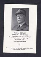 Vente Immediate Philippe Petain Marechal De France Souvenir Deces Memoire Ile D' Yeu Cimetiere Port Joinville - Obituary Notices