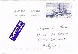 4111 CHARCOT LE POURQUOI PAS SEUL SUR ENVELOPPE POUR LA BELGIQUE - Marcofilia (sobres)