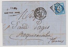 Cérès N° 60 A N° 118 B2 GC 772 Sur Lettre 2 Scans - 1871-1875 Cérès