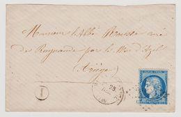 Cérès N° 60 A N° 129 B2 1er état GC Voir 2281 Maurs Du Cantal Sur Lettre 2 Scans - 1871-1875 Cérès