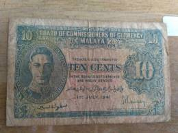 Vintage  MALAYA 1941 Straits Settlements Commissioners King George VI 10 Cents Fine Circulated, Uniface - Malaysia
