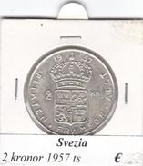 SVEZIA   2  KRONOR  ANNO 1957  COME DA FOTO - Svezia