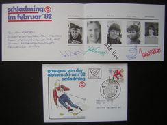 Autriche Grusspost Von Der Alpinen Ski Wm 82 Schlading Avec Autographes De 5 Athlètes (signatures) - FDC