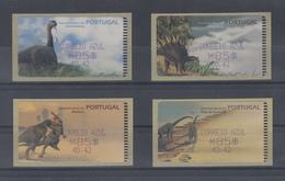 Portugal ATM Dinosaurier, 4 Motive Esc./€  Druck Amiel, AZUL  Mi.-Nr. 29-32.2 Z2 - ATM/Frama Labels