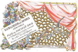 Carte Chromo Lithographiée Dentelée - SUBLIMIOR De HARRIS - CHEZ Les COIFFEURS Et PARFUMEURS - Rue De Trévise à Paris - Perfume & Beauty