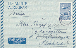 HYVINKÄÄ - 1952 , Aerogram Nach Stockholm - Airmail
