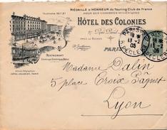 Lettre Semeuse 15c Hotel Des Colonies Paris - Postmark Collection (Covers)