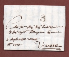 TREVISO 17/7/1804  Annullo In Cerchio + TASSA 3  SU LETTERA PER VENEZIA AUTOGRAFA DEL CONTE DELLA PALUDE  V.note - Documenti Storici