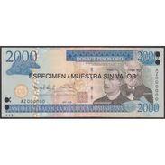 TWN - DOMINICAN REPUBLIC 181a-s - 2.000 Pesos Oro 2006 Especimen Muestra Sin Valor Punch Hole Canceled AZ 000000 UNC - Qatar