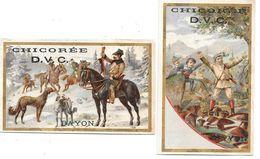 2 Chromos Publicitaires CHICOREE D.V.C. à BAYON -CHICOREE D'ALSACE VOELCKER-COUMES -chasse à Courre,lévriers,champignons - Tea & Coffee Manufacturers
